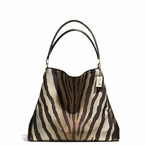 Coach Madison Zebra Print Phoebe Shoulder Bag Hobo